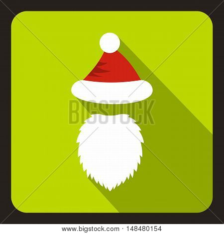 Red hat with pompom and long beard of Santa Claus icon in flat style with long shadow. New year symbol vector illustration