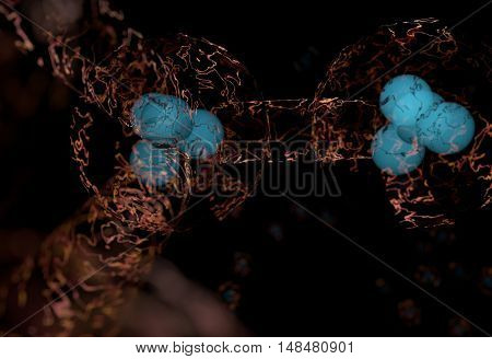 blue protons and neutrons in nucleus and surronded cloud of electrons 3d render