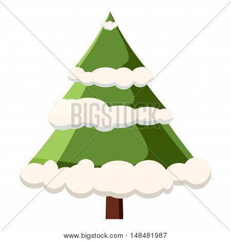 Fur tree in snow icon in cartoon style isolated on white background. Plants and nature symbol vector illustration