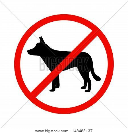 Vector illustration of black dog silhouette on isolated white background. The dog is a side view profile. The concept of dogs is prohibited. Walking of animals is prohibited.
