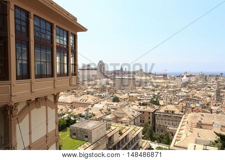 Genoa, Italy - June 26, 2016: Genoa cityscape panorama seen from Spianata Castelletto. Genoa is the capital of Liguria and one of Europes largest cities on the Mediterranean Sea.