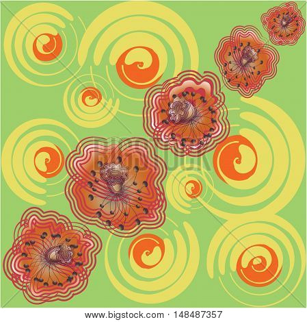 Poppies on the meadow. Seamless pattern with summer flowers on a green background. Vector. Design fabrics, wrapping paper, tapestries, tableware, banners.