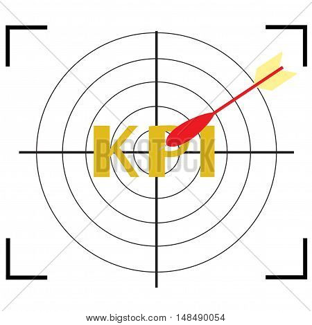 Archery and Gun Target  icon with word KPI. illustrator vector EPS 10