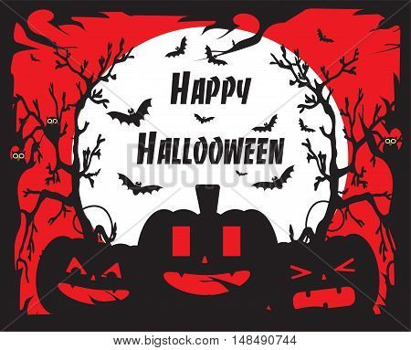 Happy Halloween background with pumpkins red color