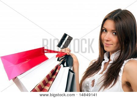 Woman With Shopping Bags, Credit Gift Card