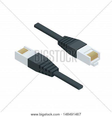 Isometric LAN cable network internet icon vector. Flat illustration data cable