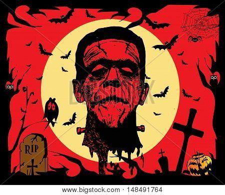 Halloween background vector with Frankenstein head red