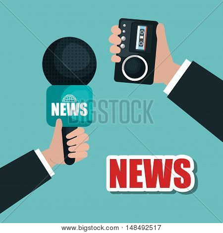 hands hold microphone and tape record news graphic vector illustration eps 10