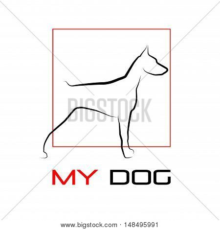 Vector sign abstract dog doberman isolated illustration