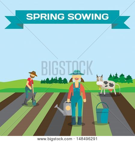 Farmer man and woman begin the season of planting vegetables in the spring. Manual labor, shovel, bucket, rural view. Cartoon flat vector illustration