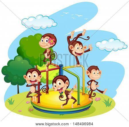 Five monkeys playing on roundabout illustration