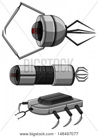 Three designs of nanobots illustration