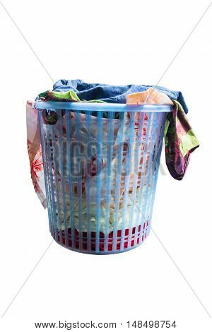 Laundry basket with full of clothes, isolated on white background