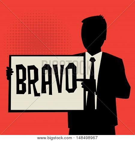 Man showing board business concept with text Bravo vector illustration
