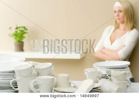 Modern Kitchen - Happy Woman Having Break