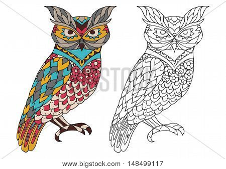 Printable coloring book page for adults - owl design, activity to older children and relax adult. vector coloring book with Islam, Arabic, Indian, ottoman motifs. colorful and outline options