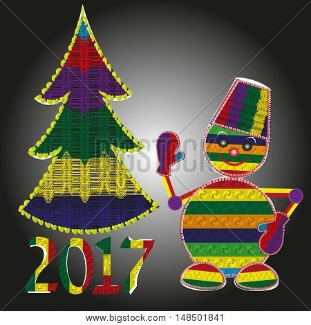 Knitted Greeting Card  Abstract bright picture Christmas or New Year, knitted strip in the tree and snowman with hat and a mitten object overlocker background eps10 Stock vector illustration