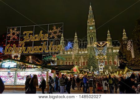 VIENNA AUSTRIA - NOVEMBER 21 2013: Christmas market at the Town hall. There are over 20 official marketplaces near main sightseeing of the city.