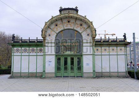VIENNA AUSTRIA - NOVEMBER 232013: Karlsplatz Stadtbahn Station Jugendstil architecture Vienna secession station - designed by Otto Wagner.