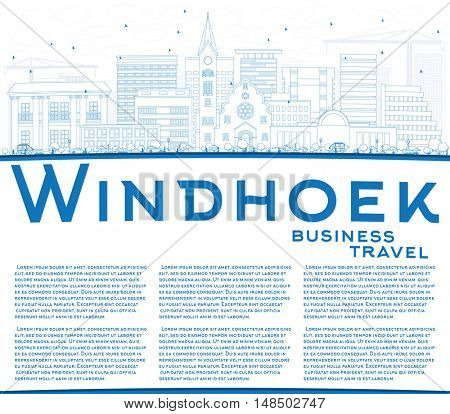 Outline Windhoek Skyline with Blue Buildings and Copy Space. Business Travel and Tourism Concept with Modern Buildings. Image for Presentation Banner Placard and Web Site.