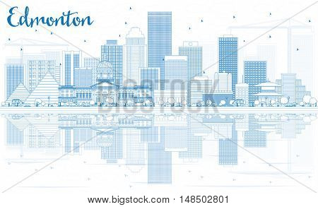 Outline Edmonton Skyline with Blue Buildings and Reflections. Business Travel and Tourism Concept with Modern Buildings. Image for Presentation Banner Placard and Web Site.