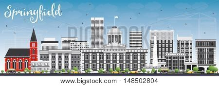 Springfield Skyline with Gray Buildings and Blue Sky. Business Travel and Tourism Concept with Modern Buildings. Image for Presentation Banner Placard and Web Site.