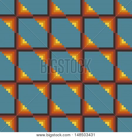 Abstract seamless stitching pattern on a desaturated blue background. Pixel art. Vector illustration