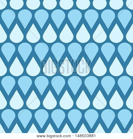 Blue vector falling water drops seamless pattern. Weather with raindrop illustration