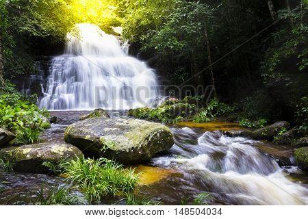 waterfall in deep forest rainy seasonMun Daeng Waterfall at Phu Hin Rongkla National Park Thailand