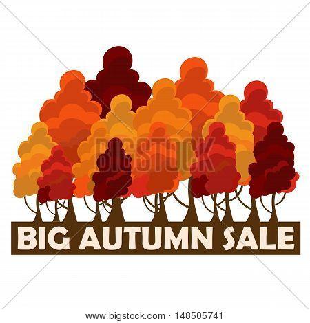 Fall Sale Design. Big Autumn Sale. Vector Illustration With Colorful Autumn Trees