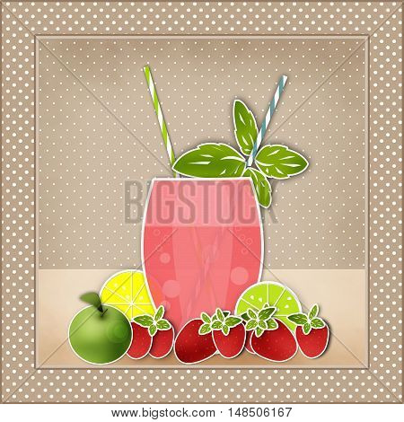Cocktail fruits background. Glass of drink with tubule. Retro illustration of bubble tea or milkshake.