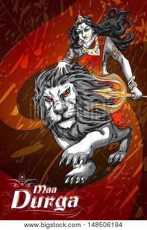 Happu Durga Puja festival India holiday background. Vector illustration