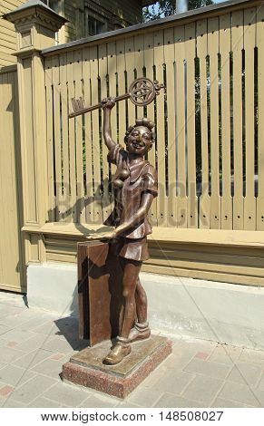 Sculpture of fairytale personage near Alexey Tolstoy house, Samara