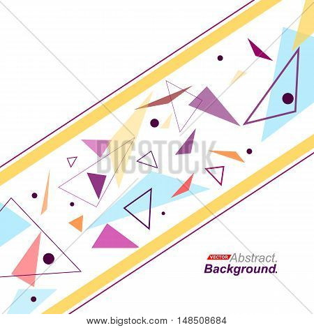 Abstract Composition. Minimalistic Fashion Backdrop Design. Patch Flying Triangles Icon. Yellow Line