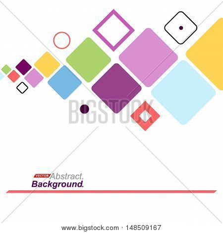 Abstract Concept. Minimalistic Backdrop Design. Patch Purple, Blue, Yellow, Green Flying Square Icon