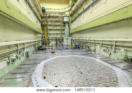 Reactor hall of a nuclear reactor. Nuclear power plant.