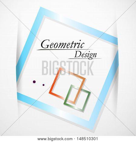 Abstract Concept. Minimalistic Backdrop Design. Square Brand Logo Icon. Green, Orange, Blue Box Bloc