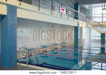 RUSSIA, MOSCOW - DEC 10, 2014: Clean pool without people in the training center for civil defense and emergency situations of Moscow.