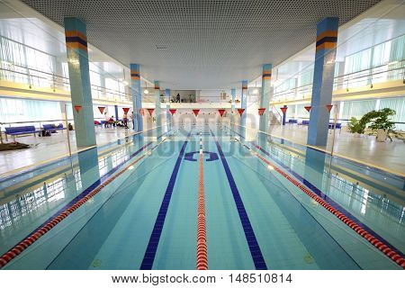 RUSSIA, MOSCOW - 10 DEC, 2014: Empty pool with a long lane in the training center for civil defense and emergency situations of Moscow.