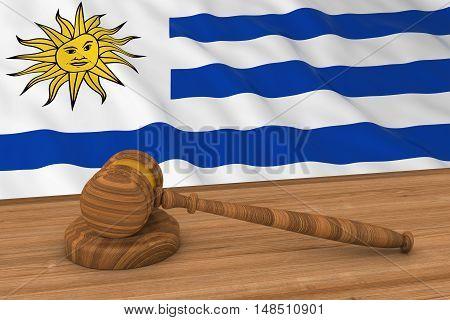 Uruguayan Law Concept - Flag Of Uruguay Behind Judge's Gavel 3D Illustration