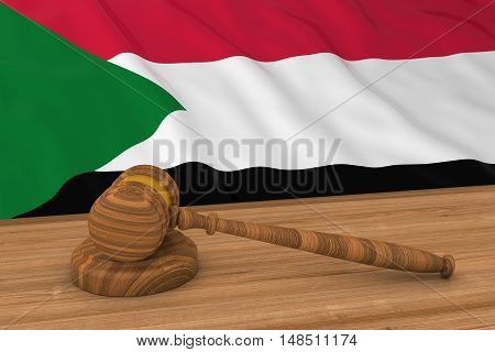 Sudanese Law Concept - Flag Of Sudan Behind Judge's Gavel 3D Illustration