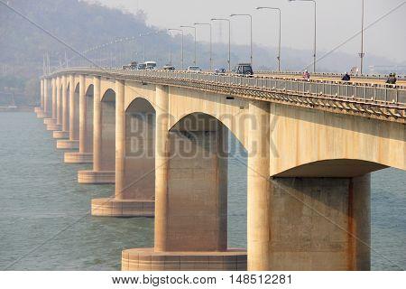 Bridge across the River. Lao bridge Lao