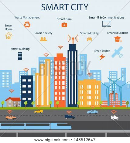 Smart city and Internet of things concept with different icon and elements. Modern city design with business communicationcity life. Illustration of innovations and Internet of things.Internet of things/Smart city