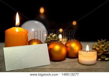 Orange Christmas Card With Empty Sigh, Black Background