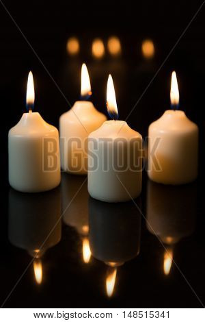 Fourth Sunday In Advent, Candles With Black Background