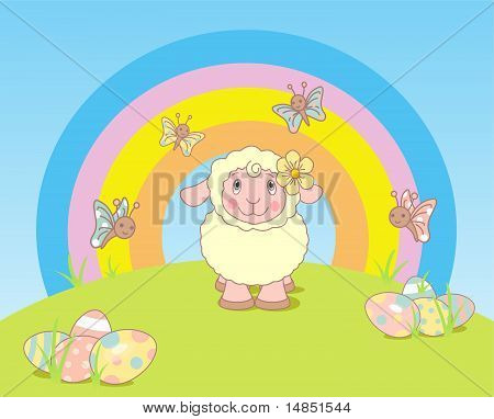 Easter Landscape With Sheep