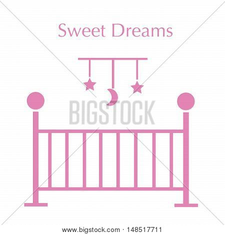 Sweet Dreams Baby Girl Pink Crib and Mobile