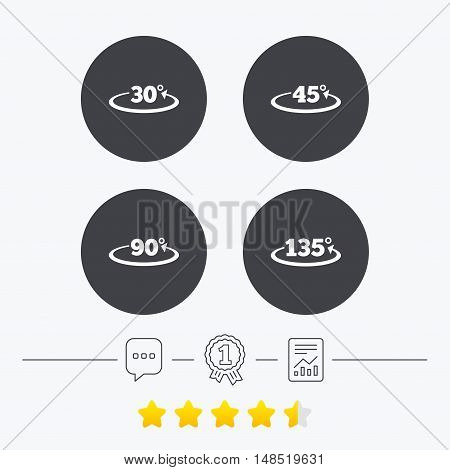 Angle 30-135 degrees icons. Geometry math signs symbols. Full complete rotation arrow. Chat, award medal and report linear icons. Star vote ranking. Vector