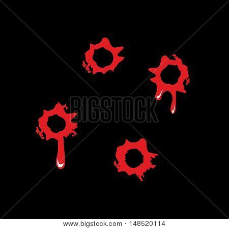 Bullet holes with blood splatters. Flat vector illustration on black background.