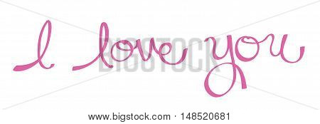 I Love You in Pink Cursive Lettering